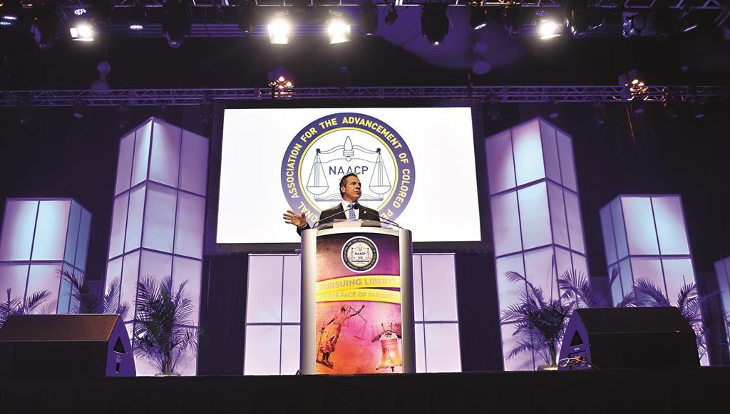 Gov. Andrew Cuomo speaks Wednesday during the NAACP's annual national convention in Philadelphia. (Office of the Governor /Kevin P. Coughlin)