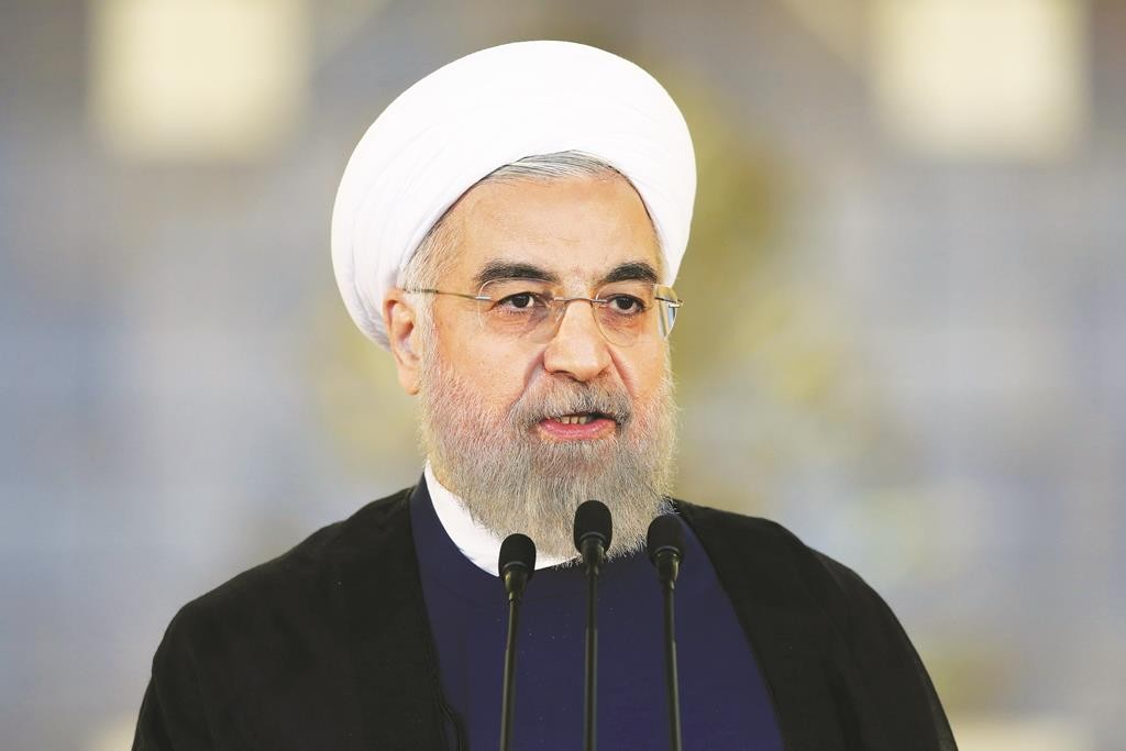 Iran's President Hassan Rouhani addresses the nation in a speech after a nuclear agreement was announced. (AP Photo/Ebrahim Noroozi)