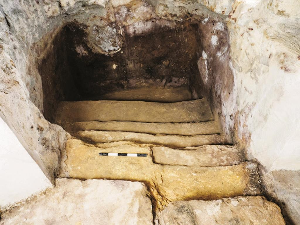 Steps leading down to the ancient mikveh concealed beneath a living floor in Ein Kerem, Yerushalayim. (Assaf Peretz, courtesy Israel Antiquities Authority)