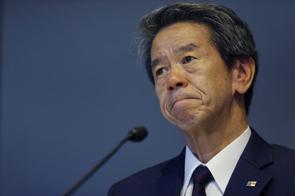 Toshiba Corp. CEO Hisao Tanaka during a press conference to announce his resignation at the company's headquarters in Tokyo, Tuesday, July 21, 2015. (AP Photo/Shizuo Kambayashi)