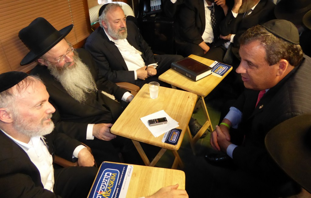 "New Jersey Gov. Chris Christie on Wednesday at the Kotler family nichum aveilim for their mother, Rebbetzin Rischel Kotler, a""h. (TheLakewoodScoop.com)"