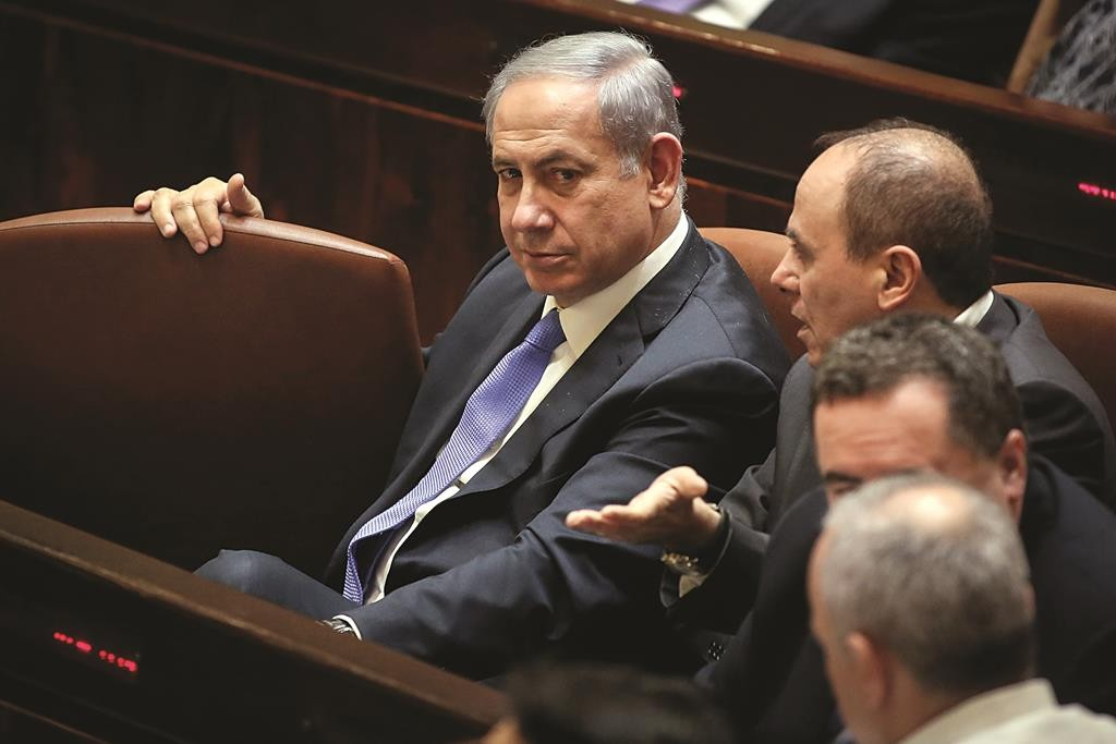 Prime Minister Binyamin Netanyahu in the Knesset, where he faces one close vote after another. (Hadas Parush/Flash90)