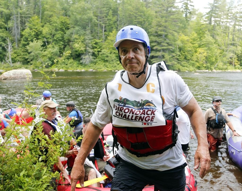 Gov. Andrew Cuomo after a rafting competition during the Adirondack Challenge in Indian Lake, N.Y., Sunday. (AP Photo/Mike Groll)