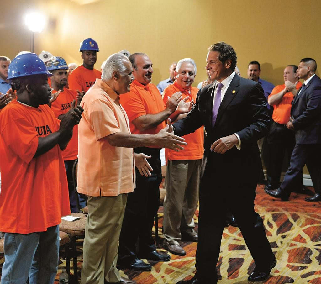 Gov. Andrew Cuomo on Tuesday was honored by the NYS Pipefitters and Plumbers at their event in Warren County. (Office of Gov. Cuomo)