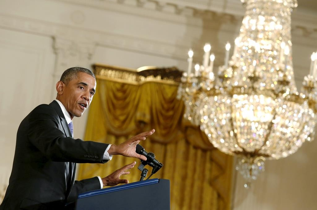 President Barack Obama speaks about the recent Iran nuclear deal during a news conference at the White House in Washington Wednesday. (REUTERS/Yuri Gripas)