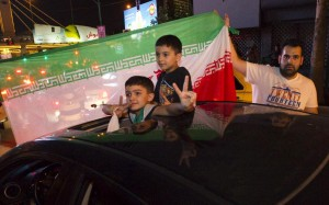 Iranians celebrate on the streets following a nuclear deal with major powers, in Tehran. (Reuters/Tima)