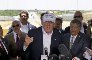 Republican presidential candidate Donald Trump at a news conference near the U.S.- Mexico border (background) outside of Laredo, Texas Thursday.  (REUTERS/Rick Wilking)