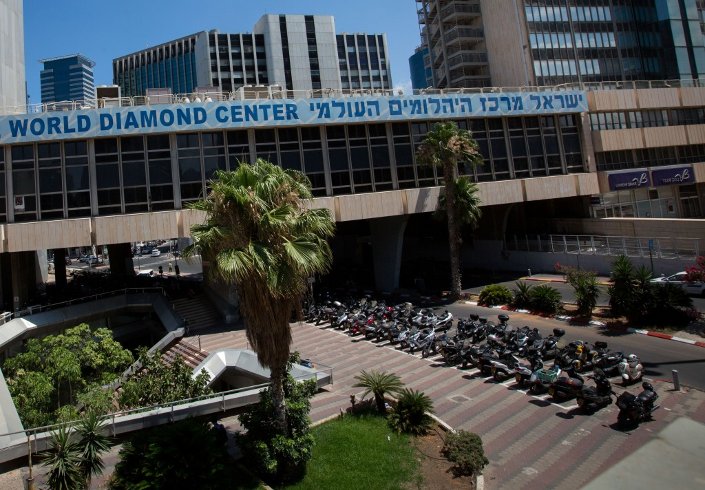 Two views of the Israel Diamond Exchange in Ramat Gan, where biometric security screening has been installed. (Miriam Alster/Flash90)