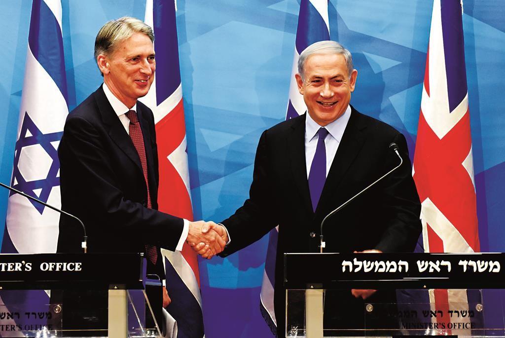 British Foreign Secretary Philip Hammond in Yerushalayim on Thursday. (Isaac Harari/Flash90)
