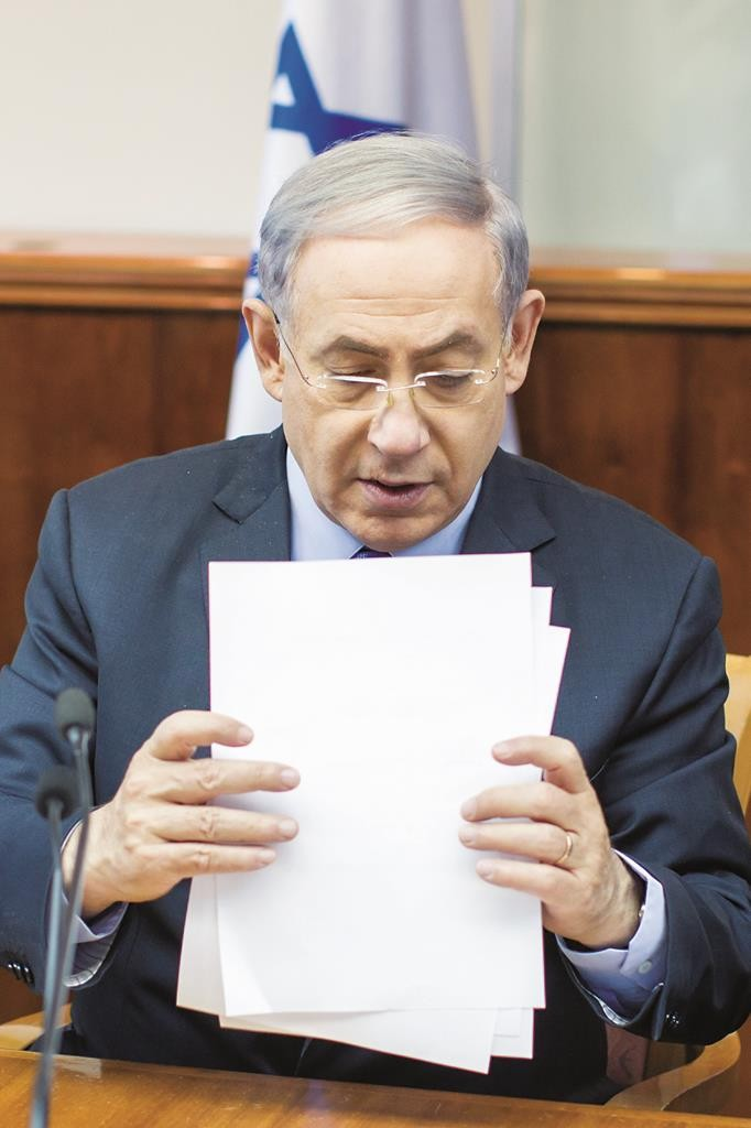 Israeli Prime Minister Binyamin Netanyahu seen at the weekly cabinet meeting on Sunday.  (Emil Salman/POOL)
