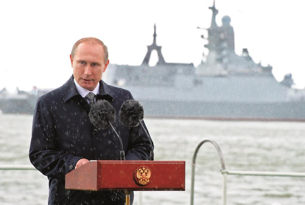Russian President Vladimir Putin speaking at a Navy parade in Baltiysk, western Russia, earlier this week during celebrations for Russian Navy Day. (Mikhail Klimentyev/RIA-Novosti, Kremlin Pool Photo via AP)