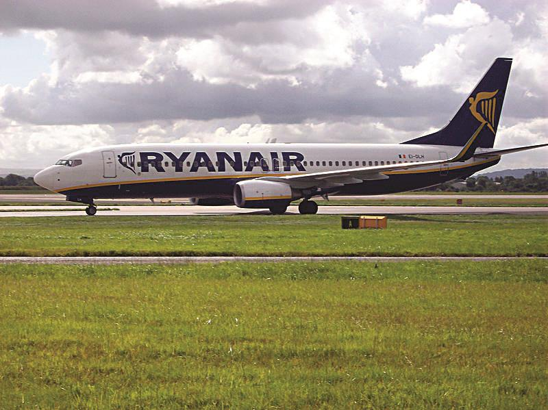 A Ryanair Boeing 737-800 seen taxiing at Manchester Airport.