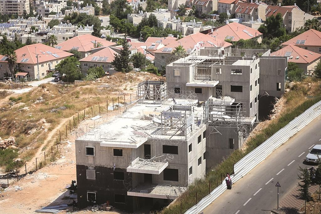 An aerial view of the disputed 24 housing units in Beit El. (FLASH90)