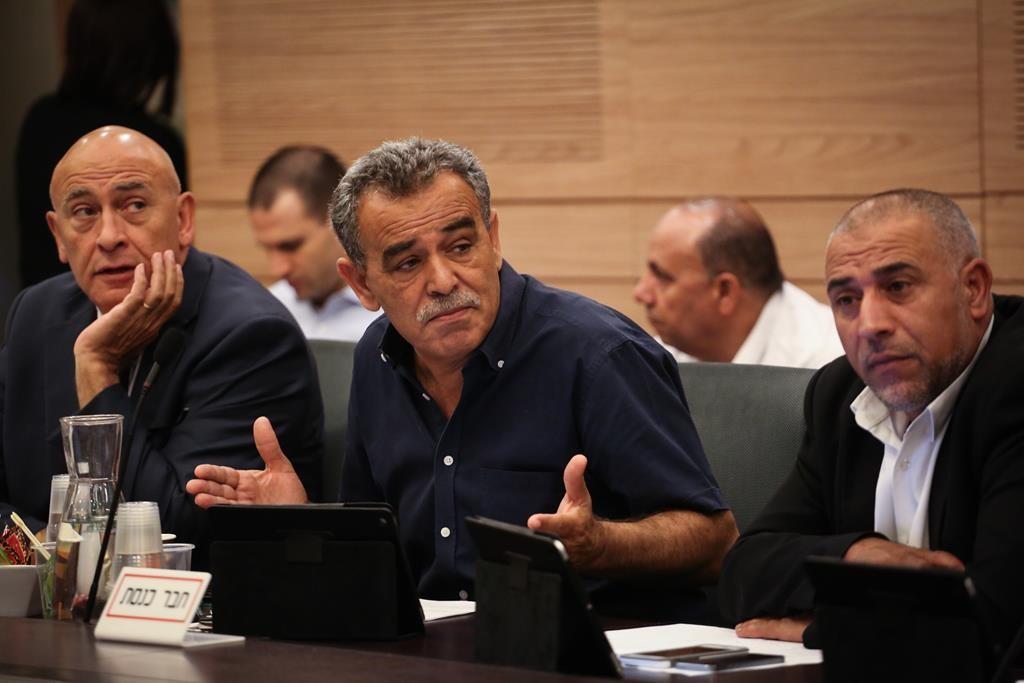Arab members of Knesset, Basel Jatas (L), Jamal Zahalka (C) and Masud Ganaim (R). (Hadas Parush/Flash90)