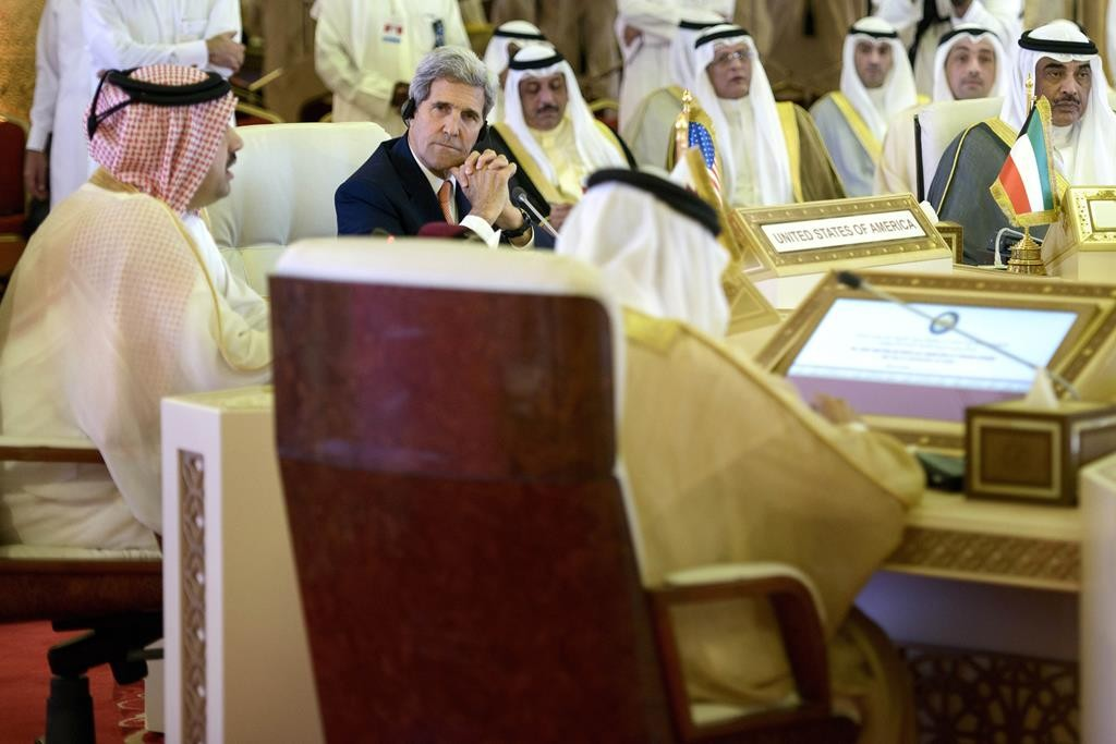 Secretary of State John Kerry (2nd L) listens during a foreign ministers meeting of the Gulf Cooperation Council, in Doha, Qatar, Monday.  (Brendan Smialowski/Pool Photo via AP)
