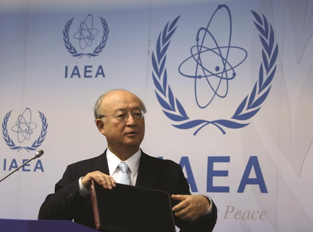 Director General of the International Atomic Energy Agency (IAEA), Yukiya Amano of Japan, addresses the media during a news conference after a meeting of the IAEA board of governors at the International Center in Vienna, Austria, Tuesday. (AP Photo/Ronald Zak)