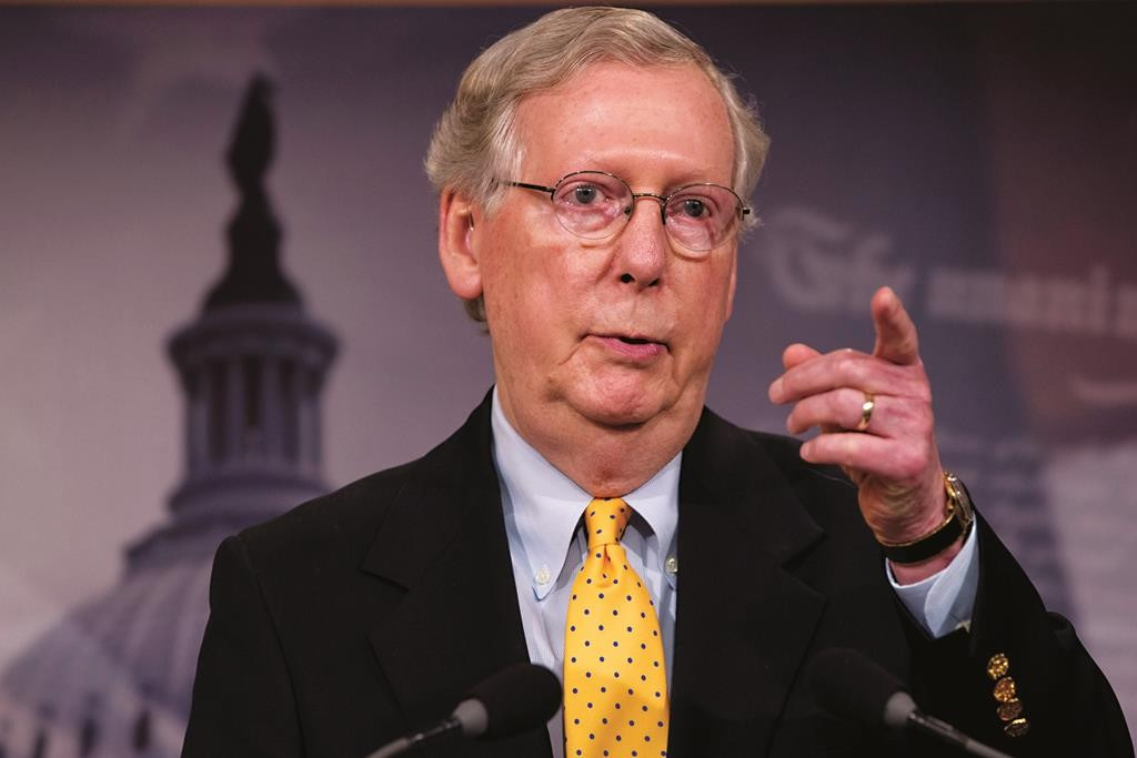 Senate Majority Leader Mitch McConnell of Ky. speaks during a news conference on Capitol Hill in Washington, Thursday, as the Senate began its summer recess. (AP Photo/Jacquelyn Martin)