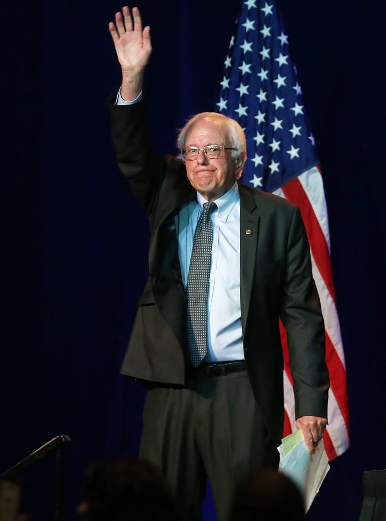 Democratic presidential candidate, Sen. Bernie Sanders (I-Vt), addresses the summer meeting of the Democratic National Committee, Friday, in Minneapolis.  (AP Photo/Jim Mone)