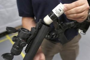 A 40mm Blunt Impact Projectile, or PIB. (AP Photo/Steven Senne)