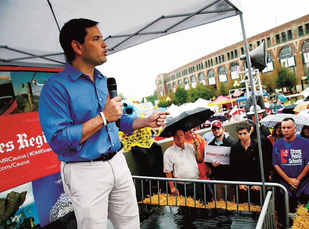 Republican presidential candidate, Sen. Marco Rubio (R-Fla.), speaks during a visit to the Iowa State Fair, Tuesday, in Des Moines, Iowa. (6AP Photo/Charlie Neibergall)