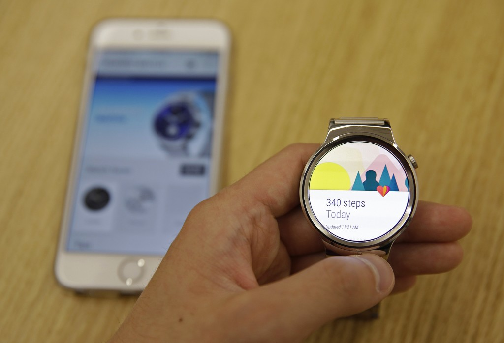A new Android Wear smartwatch that is compatible with the Apple iPhone. (AP Photo/Eric Risberg)