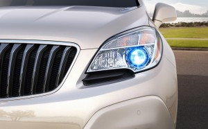 The 2015 Buick Encore's blue-accented projector beam headlamp. (Buick/TNS)