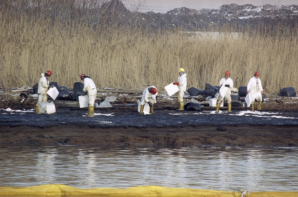 In this Jan. 9, 1990 photo, cleanup workers lay down absorbent sheets to soak up No. 2 heating oil on bird sanctuary Pralls Island between Linden, New Jersey and Staten Island, New York. Up to 567,000 gallons of oil leaked from an underwater Exxon pipeline into the Arthur Kill waterway. On Aug. 25, 2015, a N.J. judge approved a $225 million settlement between Exxon Mobil and the administration of N.J. Gov. Chris Christie's administration. (AP Photo/Mike Derer, File)