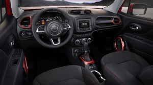 A 5-inch display screen dominates the center of the dash inside the 2015 Jeep Renegade. (Handout/TNS)