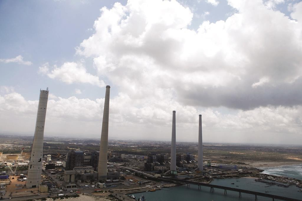 The towers of the Orot Rabin Power Plant, at the coast of Hadera.  (Moshe Shai/Flash90)