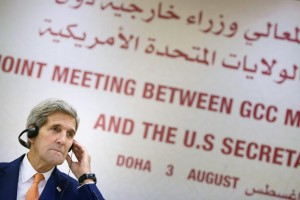 Secretary of State John Kerry speaks during a news conference following a meeting with foreign ministers of the Gulf Cooperation Council (GCC) in Doha, Qatar, Monday. Qatari Foreign Minister Khaled al-Attiyah on Monday backed the deal on Iran's nuclear program as the best available option, after talks in Doha with U.S. Secretary of State John Kerry. (REUTERS/Brendan Smialowski/Pool)