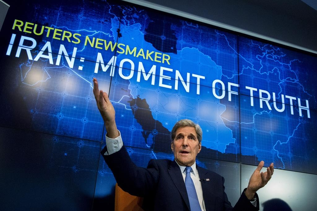 Secretary of State John Kerry speaks during a Reuters Newsmaker event on the nuclear agreement with Iran, in New York on Tuesday. (Reuters/Brendan McDermid)