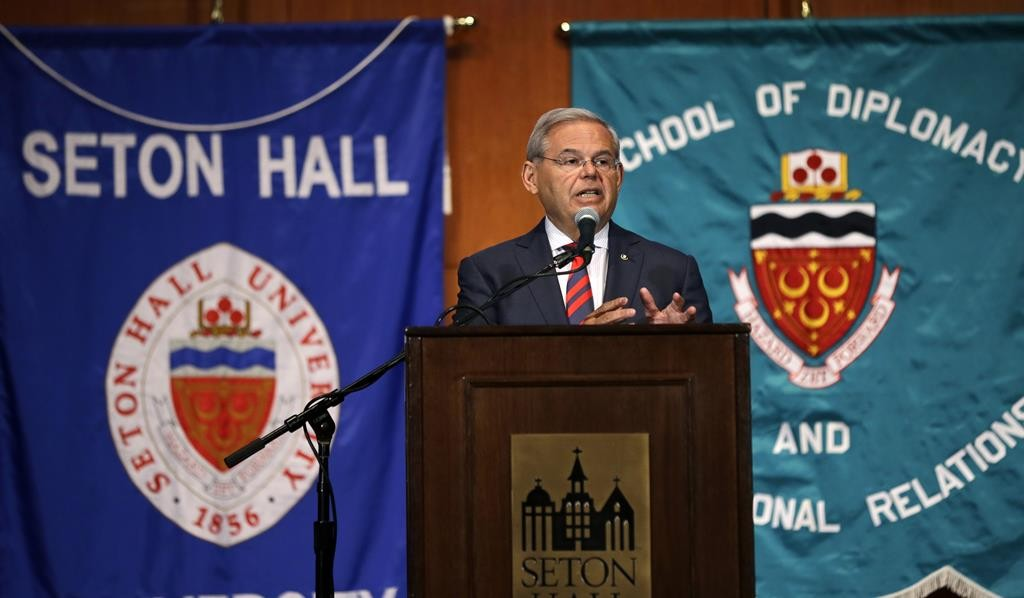 Sen. Bob Menendez addresses a gathering at Seton Hall University in South Orange, New Jersey on Tuesday, where he announced his opposition to the Iran nuclear deal, the second Democratic senator to go against President Barack Obama. (AP Photo/Mel Evans)