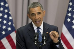 President Barack Obama speaks about the nuclear deal with Iran, Wednesday, at American University in Washington.  (AP Photo/Carolyn Kaster)