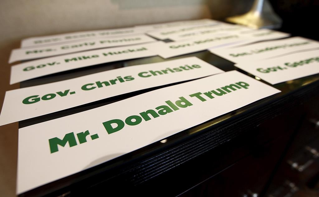 A placard with the name of Republican 2016 U.S. presidential candidate Donald Trump sits on a table at the RedState Gathering in Atlanta, Georgia. Trump was disinvited after making a comment about Fox News debate moderater Megyn Kelly. ( REUTERS/Tami Chappell)
