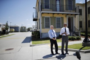President Obama (R) delivers remarks during a visit to an area reconstructed after Hurricane Katrina, accompanied by New Orleans mayor Mitch Landrieu (L), during a presidential visit to New Orleans, Louisiana, Thursday. (Reuters/Carlos Barria)
