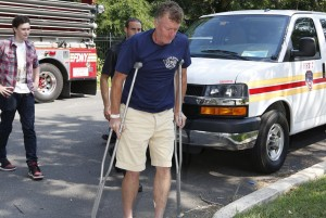 FDNY Lt. James S. Hayes leaving the hospital on Saturday. (AP Photo/Mary Altaffer)