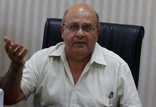 Dr. Chezy Levy, the director of Barzilai hospital in Ashkelon, as he speaks with journalists on Thursday. (AHMAD GHARABLI/AFP/Getty Images)