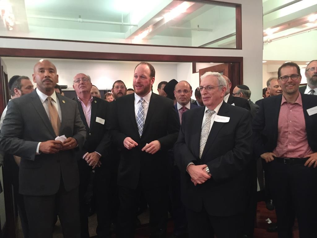 Bronx Borough President Ruben Diaz (R) and Councilmen David Greenfield (2,R) and Mark Levine (L) at a Manhattan event last week Monday to strengthen the relationship between the Jewish and Latino communities. (Courtesy of Councilman Greenfield's Office)