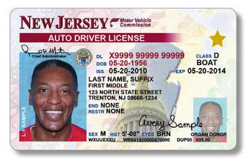 A New Jersey license sample from before the 2012 ban on smiling. (AP Photo)