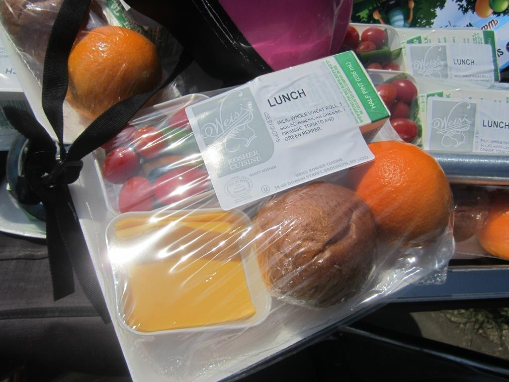 A lunch package prepared for Tuesday's program at the 18th Ave. park. (Hamodia Photo)