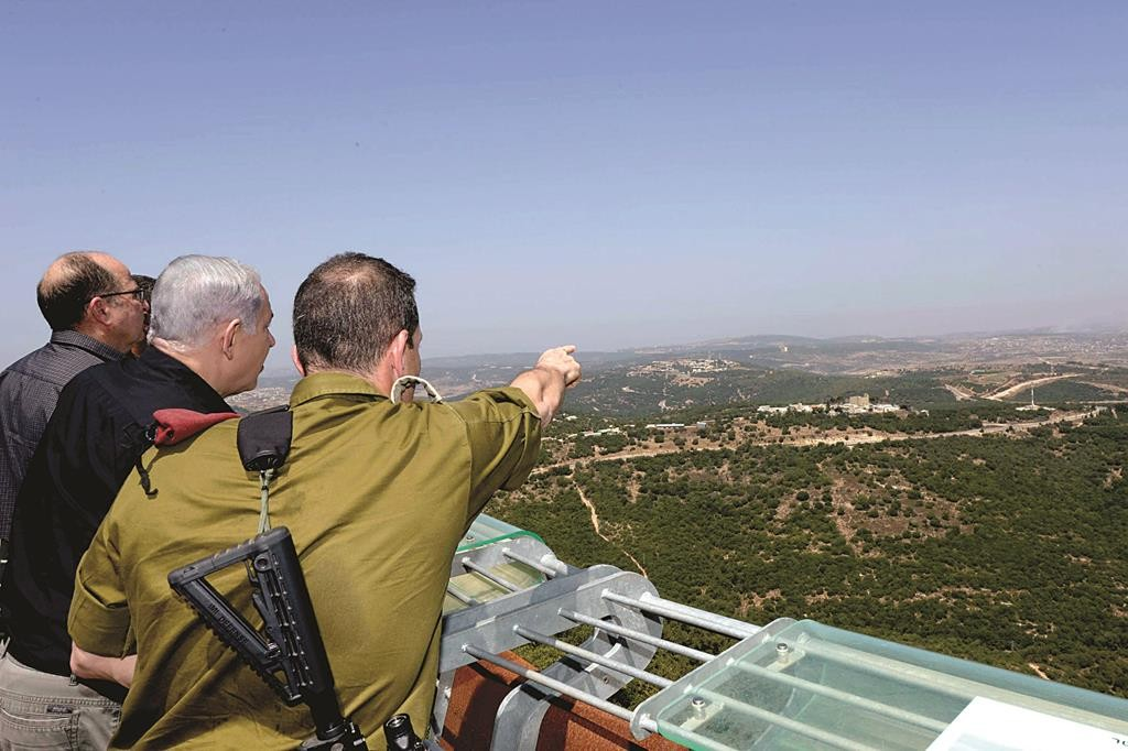 Israeli Prime Minister Binyamin Netanyahu seen during his visit to the northern border of Israel on Tuesday. (Amos Ben Gershom/GPO)