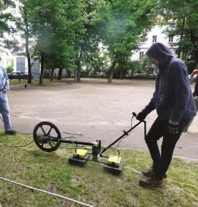 Using radar to probe the grounds. (University of Hartford)