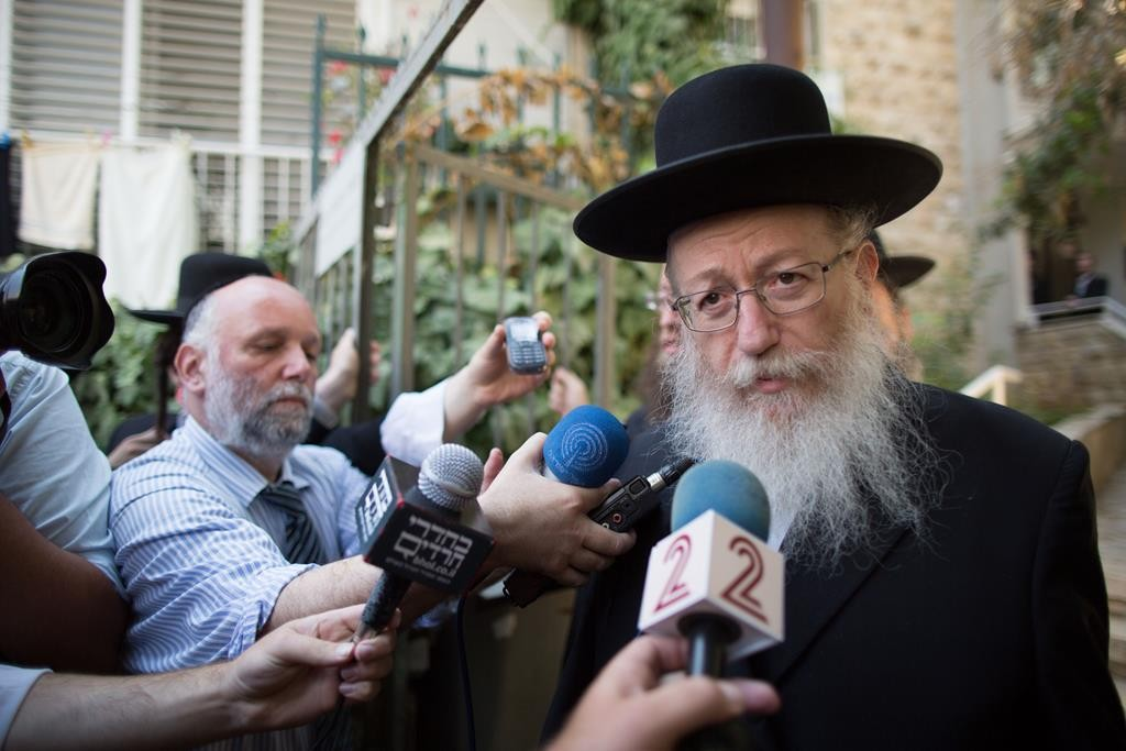 Rabbi Yaakov Litzman emerging from a meeting of the Moetzes Gedolei HaTorah of Agudas Yisrael in Yerushalayim on Thursday. (Yonatan Sindel/Flash90)