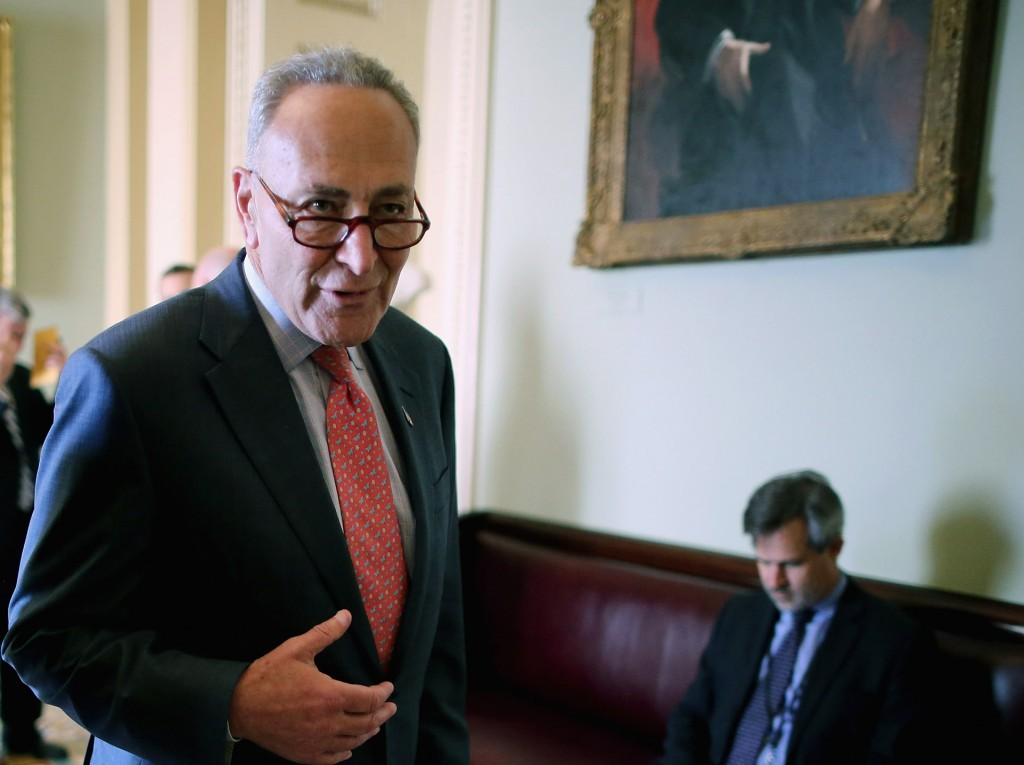 Sen. Charles Schumer (D-NY) after the weekly Democratic policy luncheon at the Capitol, Tuesday, in Washington, DC. Schumer told reporters he has not made a decision about the Iran nuclear deal, which Congress has until Sept. 17 to accept or reject. (Chip Somodevilla/Getty Images)