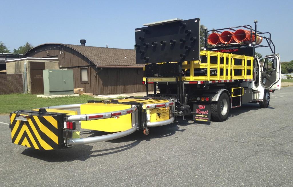 Royal Truck & Equipment Inc. demonstrates its self-driving crash truck. (AP Photo/Michael Rubinkam)