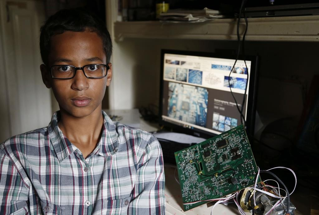 Irving MacArthur High School student Ahmed Mohamed, 14, poses for a photo at his home in Irving, Texas on Tuesday, Sept. 15 (Vernon Bryant/The Dallas Morning News via AP)