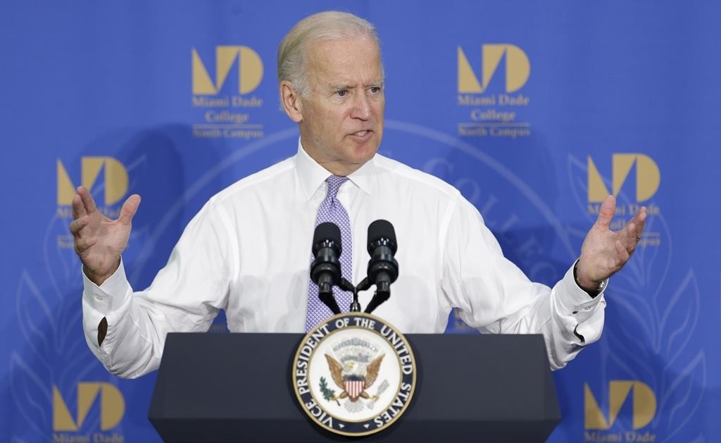 Vice President Joe Biden talks to students and guests at Miami Dade College in Miami on Wednesday. (AP Photo/Alan Diaz)