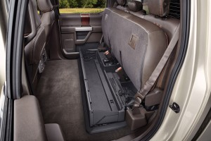 The 2017 Ford F-Series Super Duty offers a fully flat floor behind the front seats as well as folding rear seats, which fold up to reveal a cargo area. (Ford)