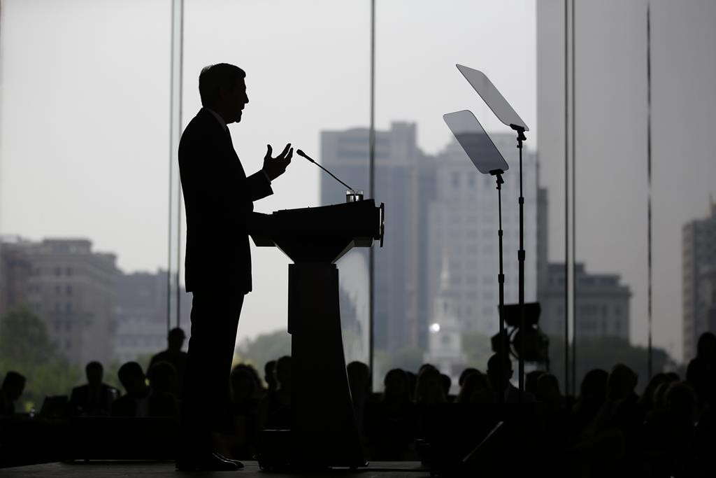 Secretary of State John Kerry delivers a speech in support of the Iran nuclear deal at the National Constitution Center in Philadelphia on Wednesday.  (AP Photo/Matt Slocum)