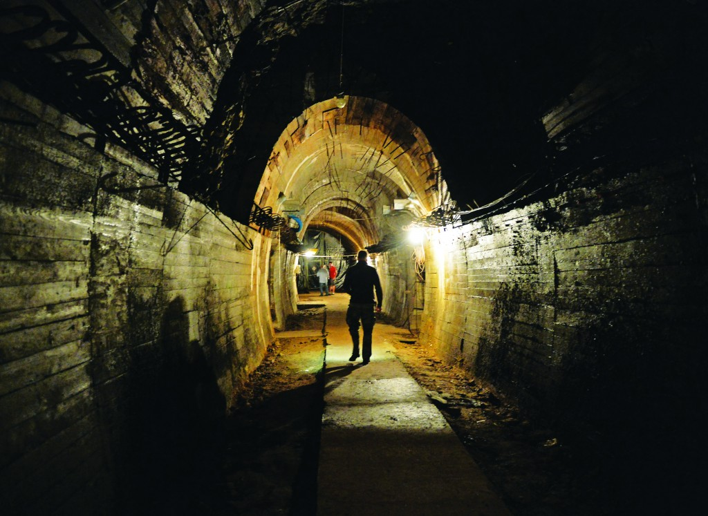 "Underground galleries, part of Nazi Germany ""Riese"" construction project under the Ksiaz castle. Poland's deputy culture minister said he was 99 percent sure of the existence of the alleged Nazi train that has set off a gold rush in the country.  (Janek Skarzynski/AFP/Getty Images)"